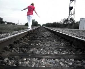 along the tracks.. [b&w]